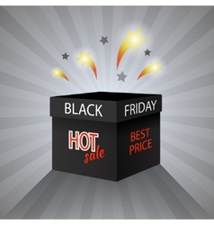 Black friday sale box on grey background vector image vector image