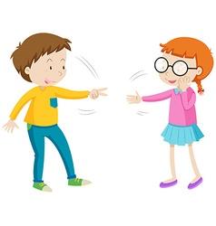 Children playing rock paper scissors vector image