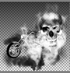 chopper motorbike with skull in smoke vector image vector image