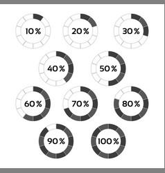 circle diagram ten steps percentage indicators vector image vector image