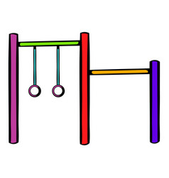 horizontal bar with climbing rings icon vector image vector image