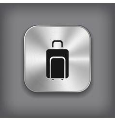 Luggage icon - metal app button vector image vector image