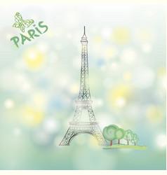 paris sign famous eiffel tower travel france vector image vector image