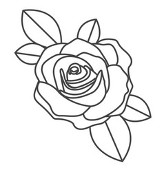 silhouette sketch flowered rose with leaves vector image