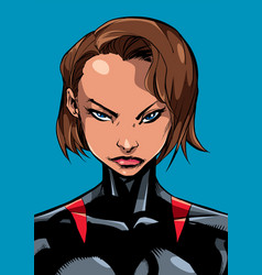 superheroine portrait line art 2 vector image vector image