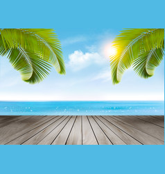 vacation background beach with palm trees and vector image