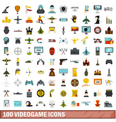 100 videogame icons set flat style vector