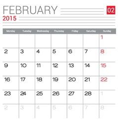 2015 February calendar page vector image