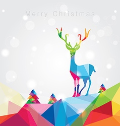 3d origami low polygon reindeer vector image