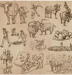 Agriculture cheesemaking - hand drawn set vector