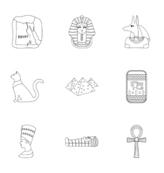 Ancient Egypt set icons in outline style Big vector