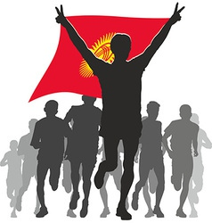 Athlete with the Kyrgyzstan flag at the finish vector