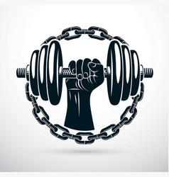 athletic sportsman biceps arm holding dumbbell vector image