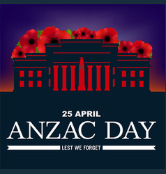 Auckland war memorial anzac day poppies vector