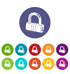 big padlock icons set color vector image