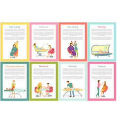 Body wrap and manicure tanning posters set vector