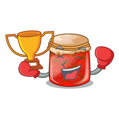 boxing winner strawberry jam glass isolated on vector image