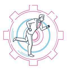 businessman running in a gear - line design style vector image