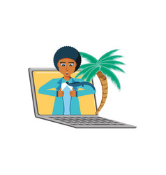 Businessman unbuttoning his shirt in laptop with vector