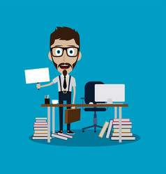 Businessman working behind office desk holding vector