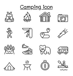 camping icons set in thin line style vector image