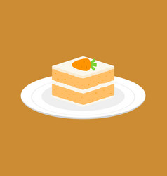 carrot cake in white plate flat design vector image