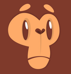 cartoon sad monkey face expression vector image