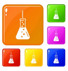chemistry flask factory icons set color vector image
