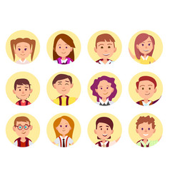 Children face front view close-up school selfie vector