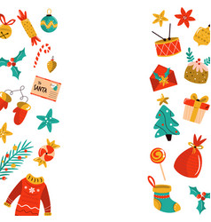 christmas background with holiday elements icons vector image