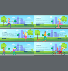 city park with people spending their time posters vector image