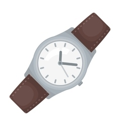 Classic wrist watch icon in cartoon style isolated vector