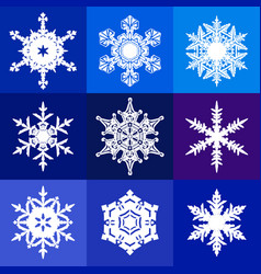 collection white snowflakes isolated on blue vector image