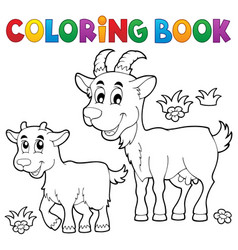 Coloring book with happy goats vector