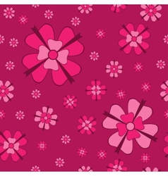 Cowberry flowers with bows seamless pattern vector