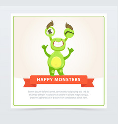 Cute funny green monster showing thumbs up happy vector