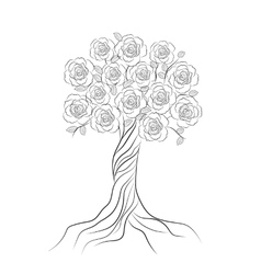 Decorative tree with flowers isolated on white vector