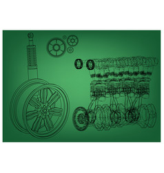 Engine and car wheel on a green background vector