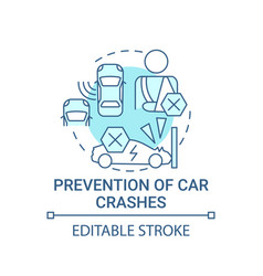 Ev crashes prevention concept icon vector