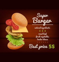Fast food poster hamburger flying delicious vector