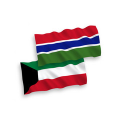 Flags republic gambia and kuwait on a white vector