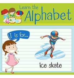Flashcard letter I is for ice skate vector image
