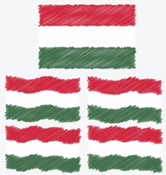 Flat and Waving Hand Draw Sketch Flag of Hungary vector image