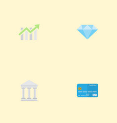 flat icons payment bar diagram bank and other vector image