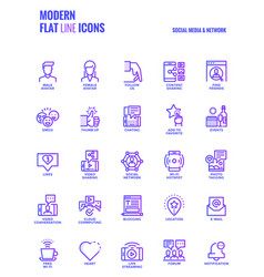Flat line gradient icons design-social media amp vector