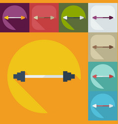 Flat modern design with shadow icon barbell vector