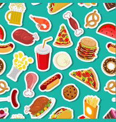 Food ornament feed pattern meat background pizza vector
