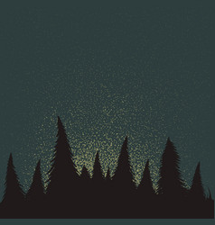 forest silhouette at the night time vector image