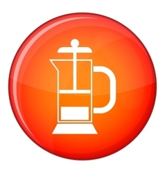 French press coffee maker icon flat style vector image