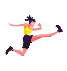 Girl in a sporty yellow tshirt jumping against a vector